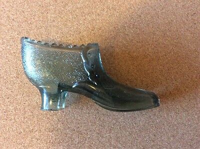 A Rare Victorian Pressed Glass Shoe - Grey / Green Version Of # 313 / 313A c1880