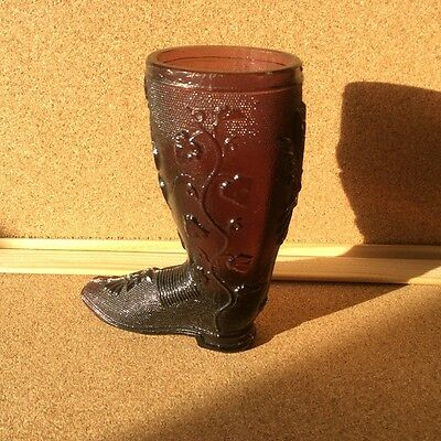 A Very Nice Victorian Pressed Glass Amethyst Boot- Shoes of Glass 2 - Like 255B