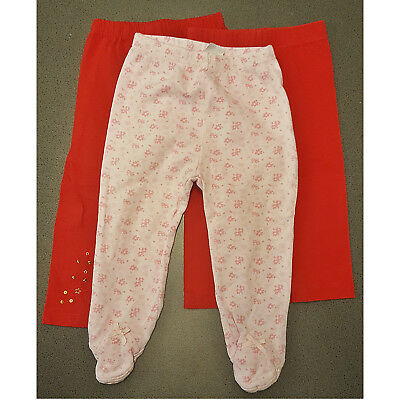 Baby Girls 3 Bundle Leggings Pink Floral with feet, Red, Red Sequins 9-12 months