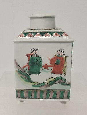 Antique Chinese Famille Verte Enameled Tea Caddy Jar Label Vase