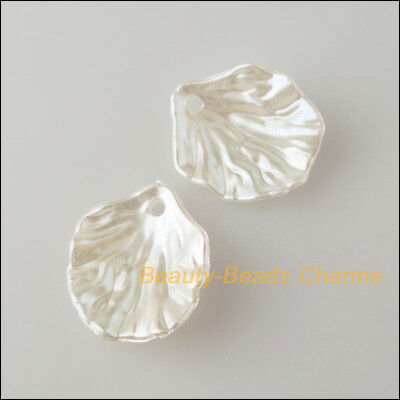 70 New Charms Acrylic Plastic Leaves Pendants Grind White 12x20mm