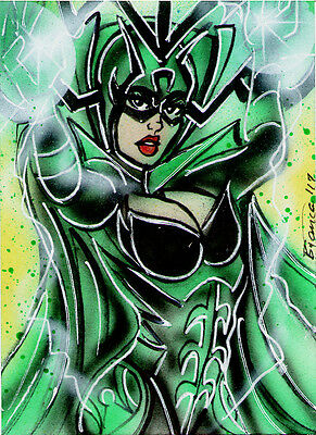 Marvel Thor HELA Original Sketch Card Painting by Bianca Thompson