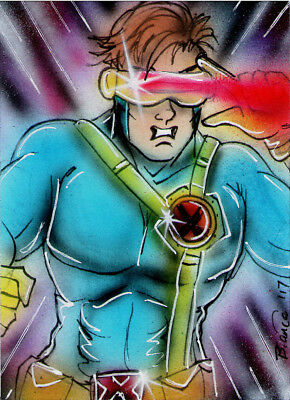 Marvel X-Men CYCLOPS Original Sketch Card Painting by Bianca Thompson