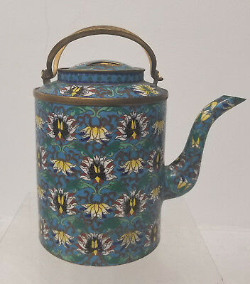 Antique Chinese Japanese Ming Style Cloisonne Teapot Reign Mark GIlt Copper