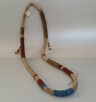 Antique Northern Plains (likely Cree) Beaded 'Elk Tooth' Necklace, 19th C