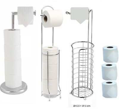 Chrome Free Standing Swivel Toilet Loo Paper Roll Holder With Extra Roll Storage