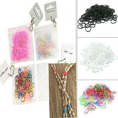 250 Hair Mini Elastic Rubber Bands Bobbles Cornrow Braiding Clear Ponytail Pouch
