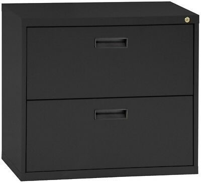 File Cabinet Lateral 30 2-Drawer Black Office Furniture Single Lock Documents