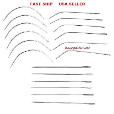 12 pcs Curved Hook Straight Hair Extension Needle Sew-in Wig Weave Weft  Needle