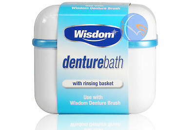 Wisdom Denture Bath With Rinsing Basket For False Teeth Cleaning And Storage.