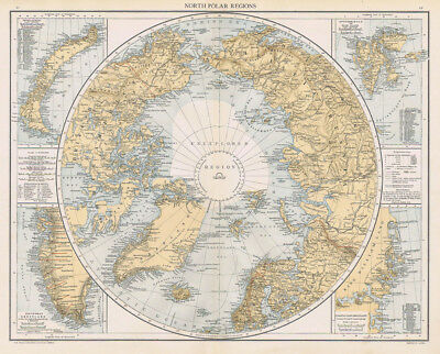 NORTH POLAR REGIONS Antique Map 1893 by Cassell