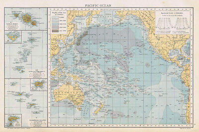 PACIFIC OCEAN Antique Map 1893 by Cassell