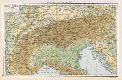 GENERAL MAP OF THE ALPS Antique Map 1893 by Cassell