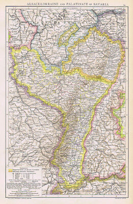 ALSACE LORRAINE & PALATINE of BAVARIA Antique Map 1893 by Cassell