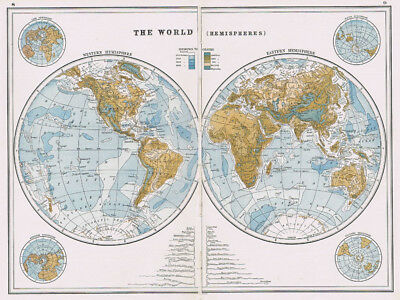 Antique Map 1920 - WORLD MAP in Hemispheres - Harmsworth Atlas