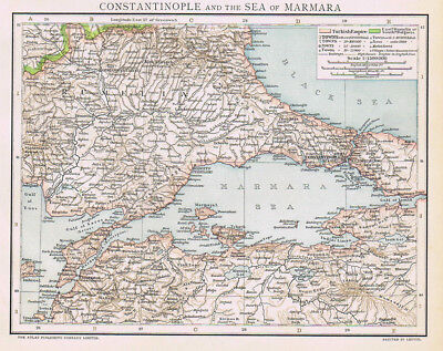 CONSTANTINOPLE & SEA OF MARMARA Antique Map 1893 by Cassell