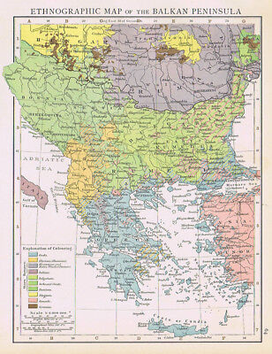 BALKAN PENINSULA Ethnographic Map Antique Map 1893 by Cassell