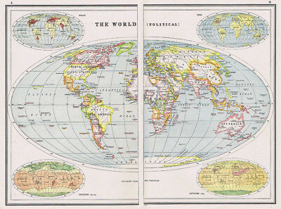 Antique Map 1920 - WORLD MAP (Political) - Harmsworth Atlas