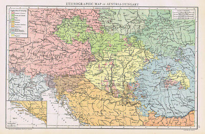 AUSTRIA-HUNGARY Ethnographic Map Antique Map 1893 by Cassell