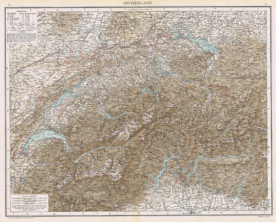 SWITZERLAND Antique Map 1893 by Cassell