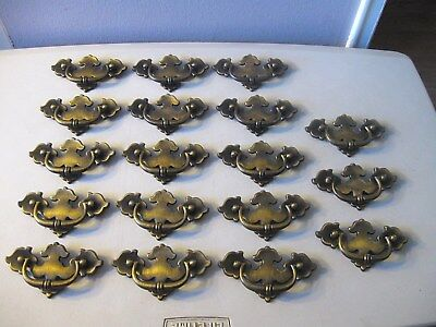 (18) Vintage Brass Finish Drawer Pulls / Handles -- Original Screws Included