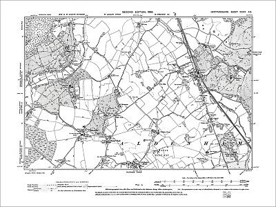 Radlett, Aldenham, Letchmore Heath, Old Map Hertfordshire, 1899: 39SE
