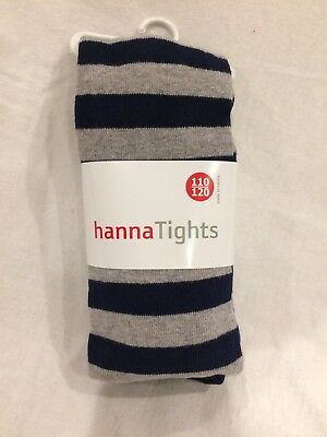 NWT Hanna Andersson Mix A Lot Tights Heather Grey Navy 110 120 5 6 7