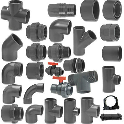 VDL Metric Grey PVC Pressure Pipe and Fittings  50 mm O/D for Marine Aquariums.