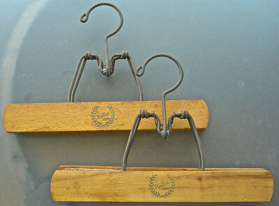 2 Vintage Walker Wood Pants Skirt Hangers Spring Open