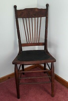 Antique Oak Wood / Leather High Back Ornate Scroll Chair Early 19Th Century ?