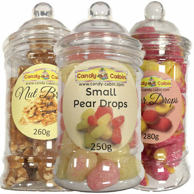 2 Retro Sweet Shop Traditional Old Fashioned Candy Victorian Jars Christmas Gift
