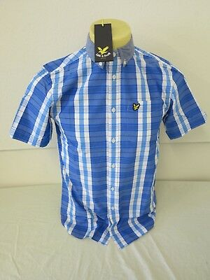 Lyle & Scott Vintage Mens Short Sleeve Check Stripe Storm Blue S Regular Fit 38""