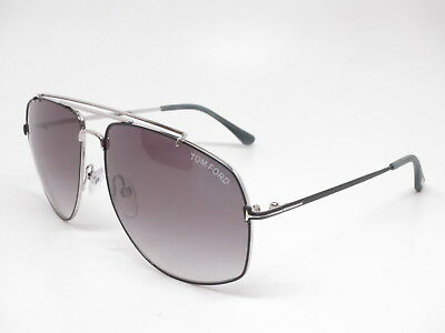 7324e6dd38fc57 New Authentic Tom Ford TF 496 Georges 18A Shiny Rhodium with Smoke  Sunglasses