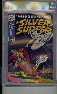 Silver Surfer #4 Cgc 5.5 Ss Signed Stan Lee Thor