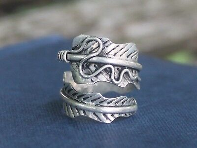 Ethnic miao silver feather ring Handmade Boho Gypsy ring gift for her or him