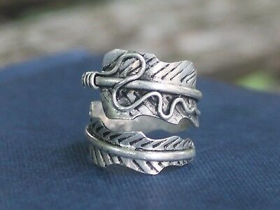Mens Ladies Handmade Adjustable Ethnic silver feather ring Gift for her or him