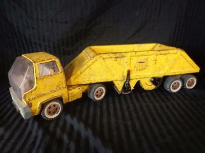 Vintage 1960's TONKA DOUBLE BOTTOM DUMP TRUCK AND TRAILER Yellow, RARE, Works!!