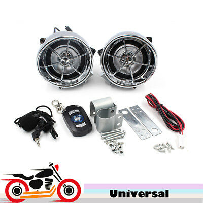 Handlebar Audio System FM Radio MP3 Stereo 2 Speakers for Motorcycle Bike Silver