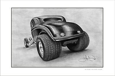 34'  Ford  Coupe  Hotrod      Limited Edition  Car Print  Drawing