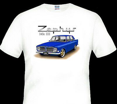 FORD   ZEPHYR  MK3   MkIII    WHITE TSHIRT  MEN'S   LADIES   KID'S  SIZES