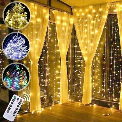 LED Copper Wire Fairy Curtain Lights Xmas Tree Decor Christmas Window Hanging