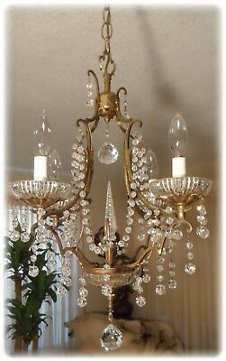 Antique Pretty Petite French Bronze 4 Arm Chandelier