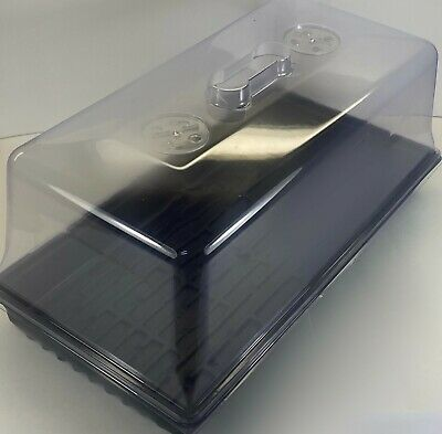 "10"" x 20"" Seedling Cloning Tray, Vented Humidity Dome, 18 Square Pots + Insert"