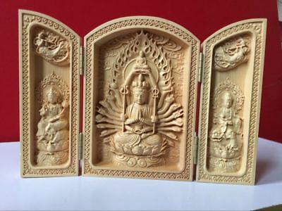 Oriental Vintage Boxwood Handwork Carved Buddha Statue Collection Chinese