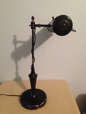 """Antique Vintage Old Swing Arm Desk Table Lamp ( Works Great ) 18"""" Tall"""
