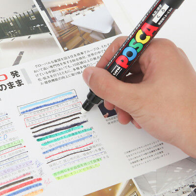 UNI POSCA Marker PC-1M Paint Pen Extra Fine Bullet Tip 0.7mm Colored Metal Glass
