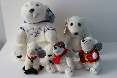 Coca Cola Plush Lot - 4 Bears + 1 Sheep - With tags
