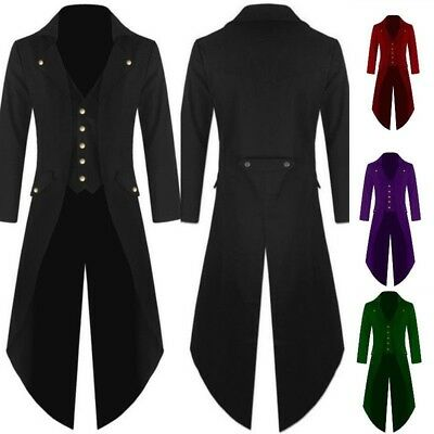 Men's Coat Vintage Steampunk Tailcoat Jacket Gothic Victorian Frock Coat  S-4XL