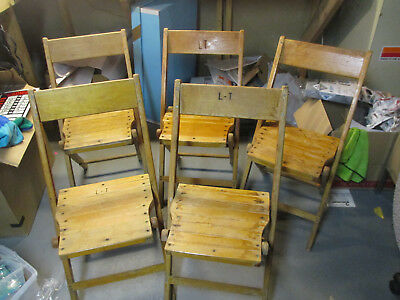 Vintage Snyder Antique Wood Oak Wooden Folding Chairs Set Of 5