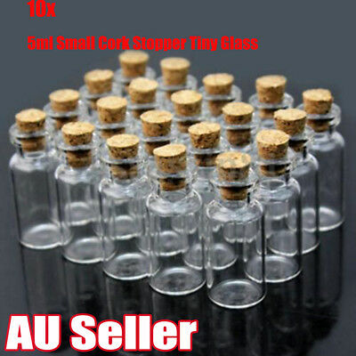 10x5ml Clear Mini Small Cork Stopper Tiny Glass Vial Jars Containers Bottle Bulk